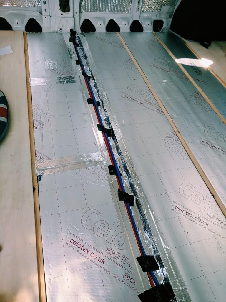 floor campervan conversion plumbing channel