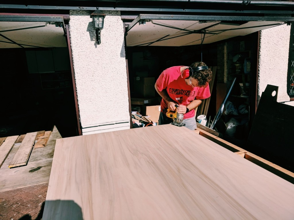 cutting floor campervan conversion